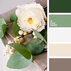 beige, color esmeralda, elección del color, esmeralda, esmeralda claro, gris, marrón oscuro, selección de colores para el hogar, tonos marrones, tonos verdes.