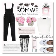 """Romwe black jumpsuit contest"" by maki007 ❤ liked on Polyvore featuring Karl Lagerfeld, BCBGMAXAZRIA, Dot & Bo, Christian Dior, Darphin, romwe and jumpsuit"