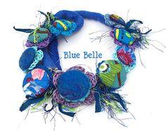 BLUE BELLE, Fiber Art, Handmade Fabric buttons Necklace, Sari Silk, Fibre Art, Wet Felted, Australian Made