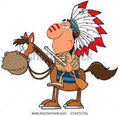 Indian Chief With Gun On Horse. Raster Illustration.Vector version also available in portfolio.