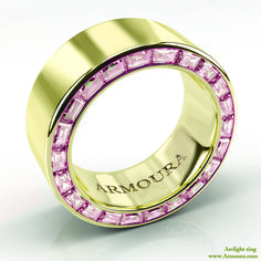 Arclight ring in 18ct yellow gold with pink diamonds from www.Armoura.com