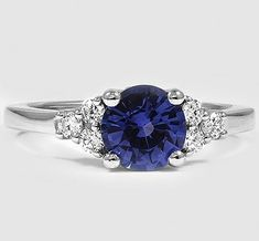 Sapphire Jewelry Platinum Sapphire Trio Diamond Ring // Set with a Blue Round Sapphire What do Sapphire Jewelry, Blue Sapphire Rings, White Sapphire, Emerald Rings, Gemstone Rings, Saphire Ring, Platinum Diamond Rings, Sapphire Earrings, Jewelry Rings