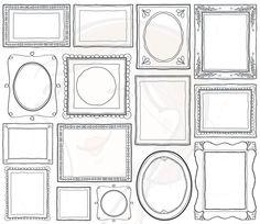 Doodle Picture Frames Decorative Borders Digital Clip Art Cute Scrapbook Supplies Label Tag Drawn Sketches Teacher Photographer 10465 auf Etsy, 4,47€