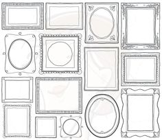 Doodle Picture Frames Decorative Borders Digital Clip Art Cute Scrapbook Supplies Label Tag Drawn Sketches Teacher Photographer 10465