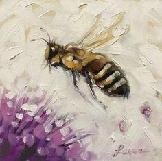 Honey bee painting Original impressionistic oil by LaveryART