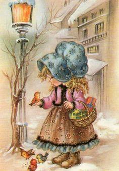 Items similar to Cute girl Bonnet style on Etsy Vintage Pictures, Vintage Images, Cute Pictures, Vintage Cards, Vintage Postcards, Sarah Key, Art Mignon, Holly Hobbie, Decoupage Vintage