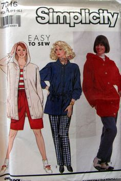 Simplicity 7015 Misses Size 6 to 24 Pullover Hoodie Pull