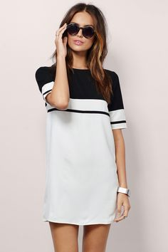 CHOIES Black and White Color Block Short Sleeve Back Zipper Women Summer Fashion Brand Simple Casual Loose Mini Shift Mini Dress(China (Mainland)) Cute Dresses, Casual Dresses, Short Dresses, Casual Clothes, Dress Long, Outfit Vestidos, Looks Party, White Shift Dresses, Looks Style
