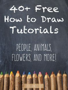 Drawing Techniques 40 Free How to Draw Tutorials - This list contains tutorials for body parts, animals, flowers, and more! by suzana Animal Drawings, Pencil Drawings, Art Drawings, Drawing Faces, Flower Drawings, Drawing Animals, Drawing Flowers, Horse Drawings, Drawing Designs