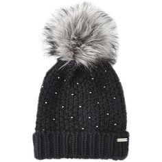Steve Madden Winter Glint Knit Pom-Pom Beanie (£9.78) ❤ liked on Polyvore featuring accessories, hats, black, knit beanie, beanie cap, knit hat, pom beanie and knit pom pom hat