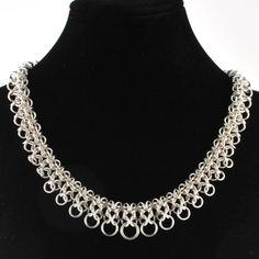 Silver Graduated Gridlock Necklace | Handmade Chainmaille Jewelry by Rebeca Mojica. $112.00