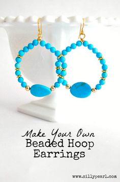 DIY Beaded Hoop Earrings by The Silly Pearl