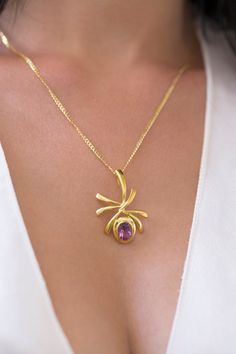 6.00 Carat Real Amethyst Necklace - Amethyst Pendant  - Amethyst Jewelry - Sterling Silver Necklace - Abstract Design Necklace Amethyst Jewelry, Amethyst Necklace, Amethyst Pendant, Gold Necklace, Silver Ear Cuff, Sterling Silver Chains, Tourmaline Ring, Engagement Gifts, Eternity Ring