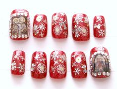 Fake #nails #gothic #lolita egl Christmas red stained by Aya1gou, $14.50