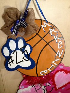 Personalized wooden door hanger. Basketball with tiger paw