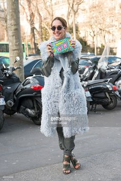 Fashion blogger Tiany Kiriloff Wears AF Vandevorst jumpsuit and shoes and Komono glasses on day 3 of Paris Collections: Women on March 05, 2015 in Paris, France.