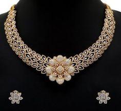 Diamond Necklace latest jewelry designs - Page 93 of 218 - Indian Jewellery Designs Diamond Necklace Set, Diamond Jewelry, Gold Jewelry, Floral Necklace, Pendant Jewelry, Pendant Set, Fashion Jewelry Necklaces, Fashion Jewellery, Fashion Earrings