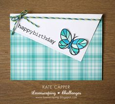 Lawn Fawn Perfectly Plaid paper; blue; butterfly; LF Flutter By; clean and simple; birthday; hello; miss you