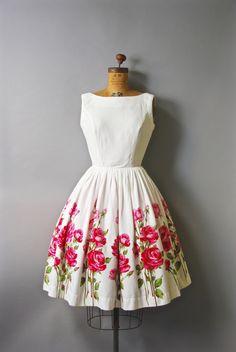 Stunning 1950s white cotton dress with nipped waist, very full skirt, sleeveless…