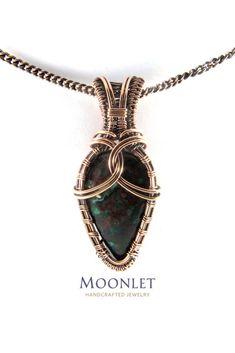 Chrysocolla Shield Antique Copper Pendant Necklace Wire Wrap Jewelry