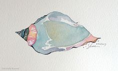 Paint September ~ Day 26 ~ A Quiet Shell ~ Original Watercolor and Ink by Shell Rummel ~ ©Michelle Rummel