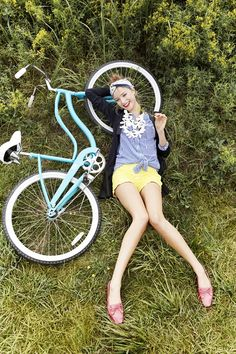 Relaxing with a Schwinn bicycle! Clarks Photo Shoot