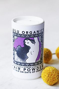 LuLu Organics Scented Hair Powder. Great to absorb oil, but a bit heavy for fine hair.