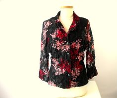 Woman's Beautiful Black & Floral Cherry Pinks Lace Lined Summer Jacket $35.00