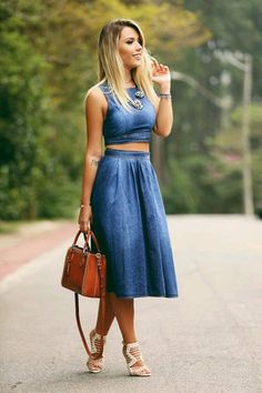 7a5a4515023 Denim dress with a crop top omg literally the cutest style in fashion I ve  ever seen for Spring!