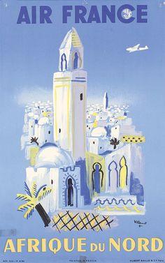 Original 1950 Air France Africa Travel Poster VILLEMOT