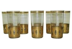 Gold Embossed Glasses, S/8