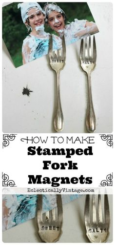 How to Make Magnetic Stamped Forks - perfect photo display for the fridge! eclecticallyvintage.com