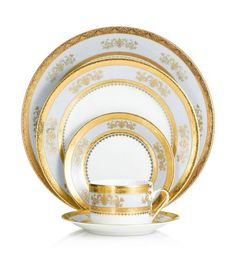 Philippe Deshoulieres - Orsay Powder Blue Five-Piece Place Setting! Sets a stunning table worthy of French Royalty!