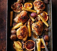 Pop chicken thighs and root veg into a roasting tin with a sweet and tangy maple glaze for a delicious one-pot dinner