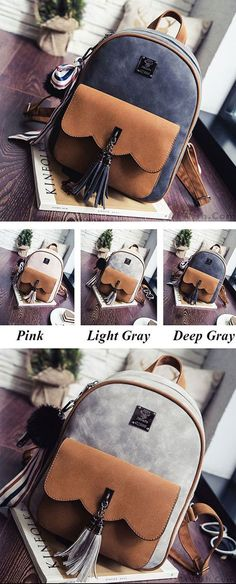 Which color do you like? Leisure Tassel Splicing School Backpack Contrast Color Frosted Girl's Backpack #tassel #frosted #retro #leisure #school #backpack #Bag #college #rucksack #student #Girl #cute #travel