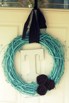 Spray paint a grapevine wreath for a super cute look!!
