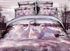 Swimming White #Swan Couple Print #3D Duvet Cover Sets #bedding #bedroom
