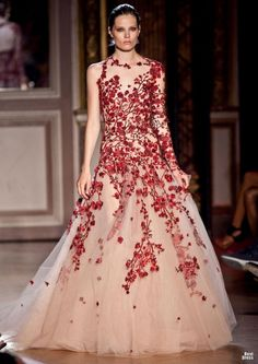 Zuhair Murad HOUTE COUTURE Zuhair Murad High Fashion Haute Couture featured fashion nude tulle covered in red flower blossoms, cherry blossoms like lace Fashion Week, Runway Fashion, High Fashion, Zuhair Murad, Beautiful Gowns, Beautiful Outfits, Beautiful Things, Costura Fashion, Couture Mode
