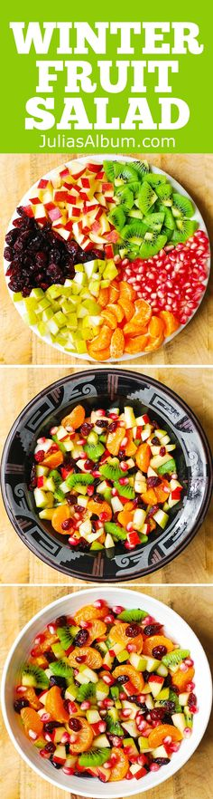 Winter Fruit Salad. Salad ingredients include red apples, pears, kiwi fruit, pomegranate seeds, dried cranberries, clementine oranges (you can use mandarin oranges, too) - all of that tossed in a delicious maple-lime dressing!
