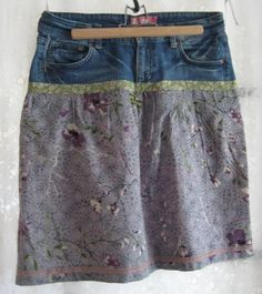 jupe jean et coton, avr. Couture Outfits, Couture Clothes, Recycle Jeans, Couture Sewing, Diy Clothing, Refashion, Rock, Lace Skirt, Sewing Patterns