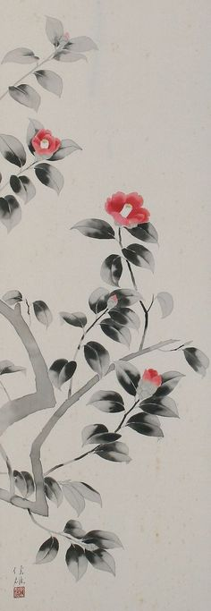 Camellia painting Asian style via Sakura Antiques Sumi E Painting, Korean Painting, Japanese Painting, Chinese Painting, Chinese Art, Japanese Art, Watercolor Paintings, Chinese Brush, Asian Cards