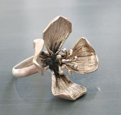 Silver four petals flower ring by mariastudio on Etsy, $83.00