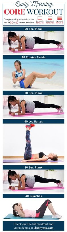 Daily Morning Core Workout Routine With Video Tutorials – Toned Chick – Genia S. Daily Morning Core Workout Routine With Video Tutorials – Toned Chick. Fitness Workouts, Yoga Fitness, Quotes Fitness, Fitness Motivation, Sport Fitness, Health Fitness, Fitness Plan, Fitness Shirts, Muscle Fitness