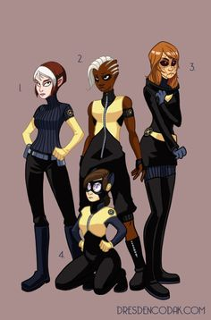 Dresden Codak's X-MEN REBOOT  1. Anna Marie/Rogue  2. Ororo Munroe/Storm  3. Jean Grey/Phoenix  4. Kitty Pryde/Shadowcat - Leader of the X-Men