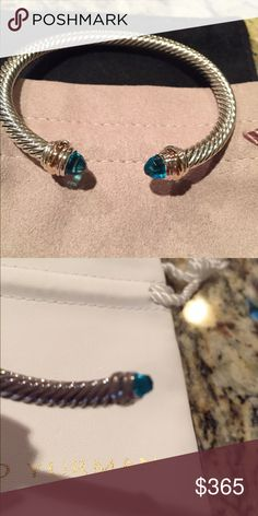 David Yurman 5mm topaz bangle with pouch DY 925 Gift condition and with box and pouch size medium David Yurman Jewelry Bracelets