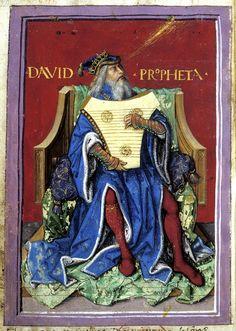 """""""Re Davide suona il salterio"""", miniatura tratta da Salterio (prima metà del XVI secolo), British Library, Londra."""