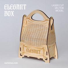 Elegant gift box with handle. Art nouveau style. Lasercut vector model project plan with engraving. ► http://cartonus.com/elegant-box/