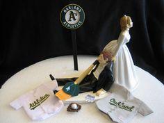 Oakland Athletics A's BASEBALL Wedding Cake Topper by finsnhorns, $42.00