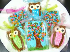 Handmade Owl Love Tree Baby Shower Decorated by SweetRoseCookies