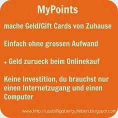 USA billig aber gut leben: MyPoints - Geld / Gift Cards einfach ohne grossen Aufwand + Geld zurueck beim Onlinekauf